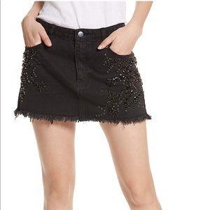 "free people ""shine bright"" rhinestone mini skirt"